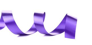 Violet curly silk ribbon. Stock Image