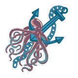 Violet cuttlefish or octopus with wavy arms sitting on sea or ocean anchor.  Royalty Free Stock Photography