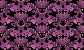 Violet 3d Baroque seamless pattern. Vector black background wall. Paper with vintage purple gold 3d flowers, scroll leaves, antique damask ornament in baroque vector illustration