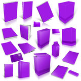 Violet 3d blank cover collection. Isolated on white Stock Photos