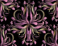 Violet 3d floral damask seamless pattern. Vector ornamental back. Ground. 3d wallpaper. Hand drawn flowers, leaves, swirls, lines, gold garlands, dots, beads Royalty Free Stock Photo