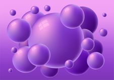 Violet 3d glossy spheres with reflections. Vector gorizontal bubble gum background stock illustration