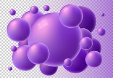 Violet 3d glossy spheres with reflections. Vector gorizontal bubble gum isolated on transparent background. Great for invitation, card, product packaging stock illustration