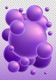 Violet 3d glossy spheres with reflections. Vector vertical bubble gum isolated on transparent background. Great for invitation, card, product packaging, header royalty free illustration