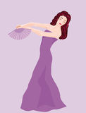 Violet dancing. Vector illustration of Violet dancing with fan Royalty Free Stock Photography