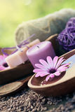 Violet dayspa nature set. Spa and wellness setting with natural soap, candles and towel. Violet dayspa nature set dayspa nature set Royalty Free Stock Photos