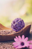 Violet dayspa nature set. Spa and wellness setting with natural soap, candles and towel. Violet dayspa nature set dayspa nature set Royalty Free Stock Photo
