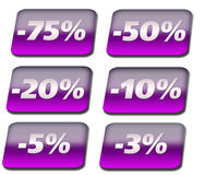 Violet Discount buttons. Glossy violet discount buttons for best selling Royalty Free Stock Images
