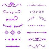 Violet Dividers-vector op witte achtergrond Handdrawn grenzen Unieke werveling, verdeler De inkt, borstellijnen, laurels plaatste vector illustratie