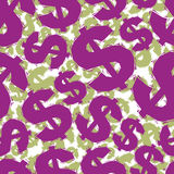 Violet dollar signs seamless pattern, geometric contemporary sty Stock Images