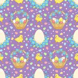 Violet Easter background with chickens Stock Images