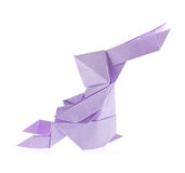 Violet easter bunny of origami. Stock Photo