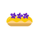 Violet eclair. Flat styled illustration of violet eclair. design element isolated on white background Royalty Free Stock Images