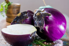 Violet eggplant, fresh healthy vegetables Royalty Free Stock Images