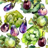 Violet eggplant vegetable in a watercolor style pattern. stock images