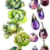 Violet eggplant vegetable in a watercolor style pattern. royalty free stock photography