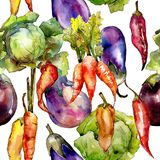Violet eggplant vegetable in a watercolor style pattern. royalty free stock image