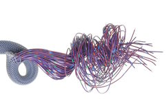Violet electrical wires with cable shield Royalty Free Stock Photos