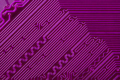 Violet electronic circuit board, paths Stock Images