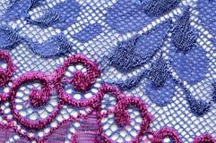 Violet en blauw materieel de textuur macroschot van het bloemenkant Royalty-vrije Stock Foto