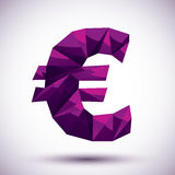 Violet euro sign geometric icon, 3d modern style Stock Photo