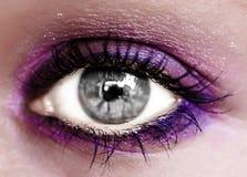 Violet Eye Makeup. Beautiful Eyes Make-up. Macro Stock Photo