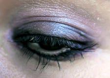 Violet Eye Makeup Härligt ögonsmink Makro Arkivfoton