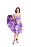 violet för klänningmodeflicka Fotografering för Bildbyråer