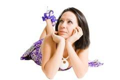 violet för klänningmodeflicka Royaltyfri Foto