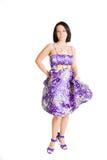 violet för klänningmodeflicka Arkivfoton