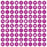 violet för sexhörning för 100 symboler för appellmitt Fotografering för Bildbyråer