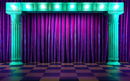 Violet fabric curtain on stage Royalty Free Stock Image