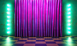 Violet fabric curtain on stage Royalty Free Stock Images