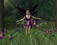 Violet Fairy in Spring Woodland Stock Photography