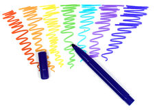 Violet felt-tip pen with removed cap. On a background of the drawn rainbow stock photography