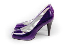 Violet female shoes Stock Photo
