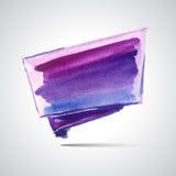 Violet flag. Watercolor handmade background. Vector red ribbon. Colorful blot. Light violet spot. Watercolor frame. Hand drawn Stock Illustration