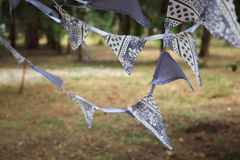 Violet flags decorations Stock Photos