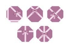 Violet flat present boxs concept, isolated royalty free illustration