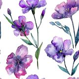 Violet flax. Seamless background pattern. Fabric wallpaper print texture. Aquarelle wildflower for background, texture, wrapper pattern, frame or border Royalty Free Stock Image