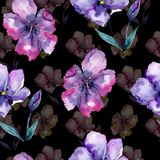 Violet flax. Seamless background pattern. Fabric wallpaper print texture. Aquarelle wildflower for background, texture, wrapper pattern, frame or border Royalty Free Stock Photos