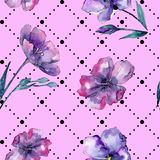 Violet flax. Seamless background pattern. Fabric wallpaper print texture. Aquarelle wildflower for background, texture, wrapper pattern, frame or border Stock Photo