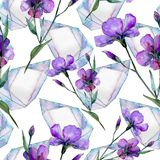 Violet flax. Seamless background pattern. Fabric wallpaper print texture. Aquarelle wildflower for background, texture, wrapper pattern, frame or border Stock Photography