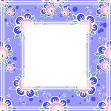 Violet floral border. Abstract cartoon roses border on a violet background Royalty Free Stock Images