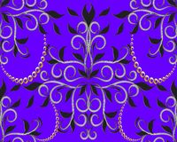Violet floral 3d seamless pattern. Vector vintage background. Ha. Nd drawn black flowers, leaves, swirls, curves, gold dots and interesting damask ornaments Royalty Free Stock Images