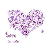 Violet floral heart Royalty Free Stock Photo