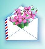 Violet Floral-Hintergrund im Frühjahr und Sommer in einem Umschlag Auch im corel abgehobenen Betrag stock abbildung