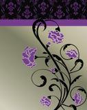 Violet Floral Invitation Card scura Fotografie Stock