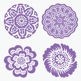 Violet floral mandalas set Royalty Free Stock Images