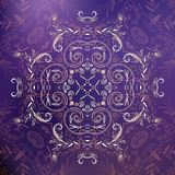 Violet floral ornament mandala background card Royalty Free Stock Photo